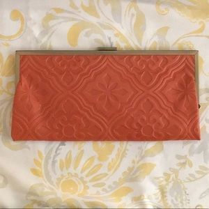 Valentina Framed Coral Leather Clutch